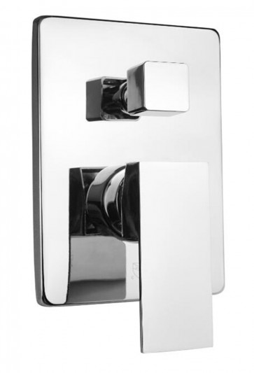 Shower Mixer White and Chrome - 3-Function Round with Pressure Balance