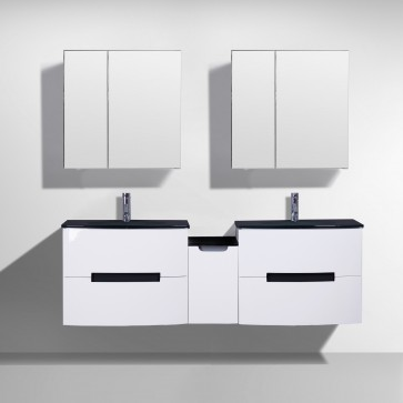 "72"" Tula White - Double Sink Wall-Hung Bathroom Vanity"
