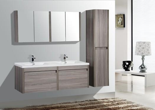 60 Labrador Maple Grey Double Sink Wall Hung Bathroom Vanity