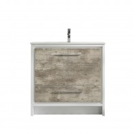 "36"" Melanie - White And Ash - Single Sink Bathroom Vanity"