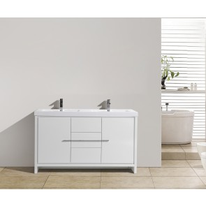 "60"" Allier - White - Double Sink Bathroom Vanity"