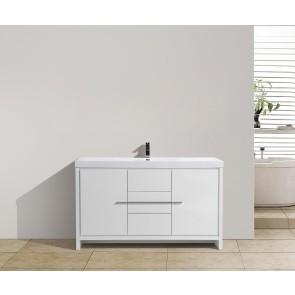 "60"" Allier - White - Single Sink Bathroom Vanity"