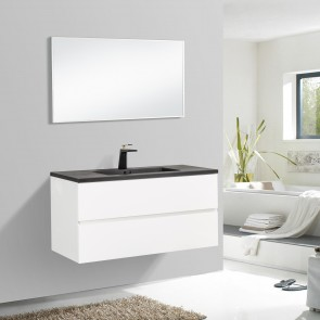 "40"" Edge - White - Single Sink Wall-Hung Bathroom Vanity"