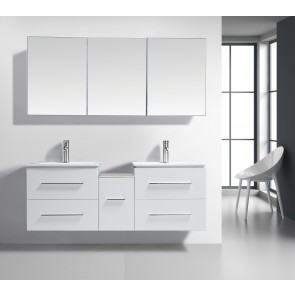 "60"" Jacob- White - Double Sink Modular Wall-Hung Bathroom Vanity - Limited Stock"