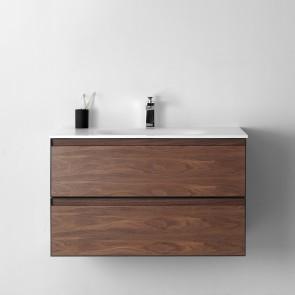 """36"""" Malibu - Walnut - Single Sink Wall-Hung Bathroom Vanity"""