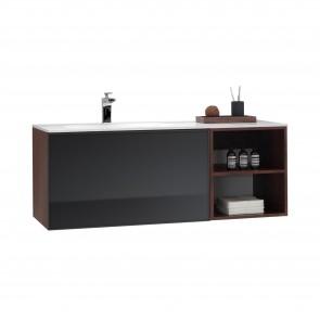 """48"""" Malibu - Walnut - Single Sink Wall-Hung Bathroom Vanity"""