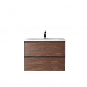 """30"""" Malibu - Walnut - Single Sink Wall-Hung Bathroom Vanity"""