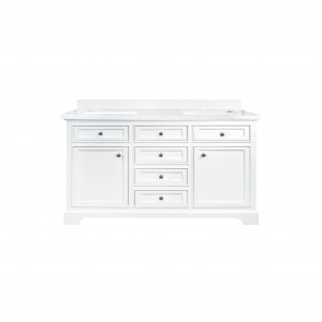 """60"""" Milan Bathroom Vanity - White - Double- Sink - Snow White Quartz - New round knobs - Coming Soon"""