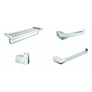 Prismatic Set of Bathroom Accessories Chrome