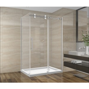 "Shower Set 48inch - Round Style - 2 wall setup without base (48"" x 36"")"