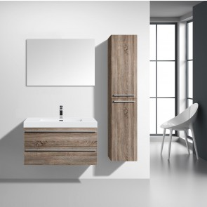"36"" Sofia - Soft Oak - Single Sink Wall-Hung Bathroom Vanity"