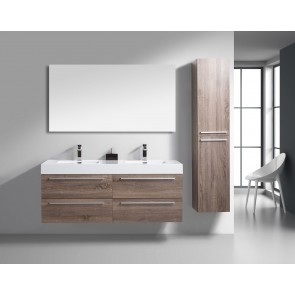 "60"" Sofia - Soft Oak - Double Sink Wall-Hung Bathroom Vanity"